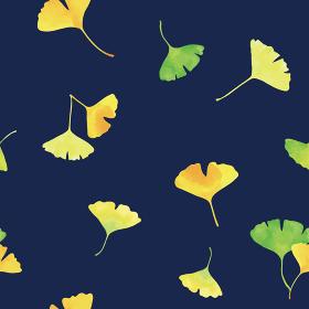 おどるイチョウの葉。水彩イラスト シームレス、連続模様(紺色背景)