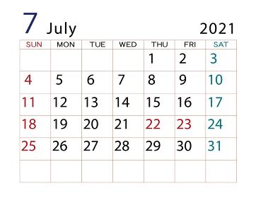 2020年 カレンダー 7月 その2