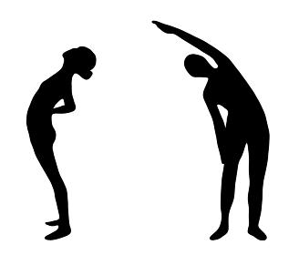 背筋を伸ばすラジオ体操のシルエット