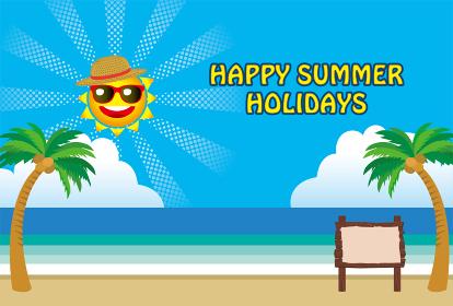 暑中お見舞いテンプレート アメコミ風の太陽のキャラクターとヤシの木と海と青空|夏のイメージのイラスト