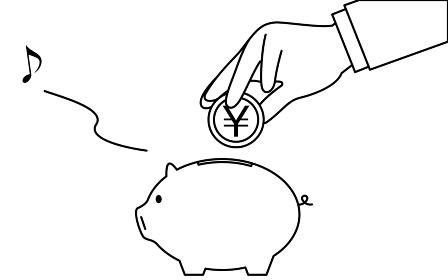 貯金のイメージ、豚の貯金箱にお金を入れる