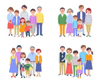 4組の3世代家族 セット