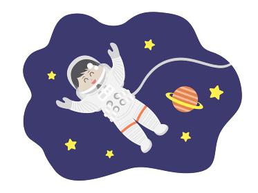 宇宙遊泳する男性宇宙飛行士のイラスト