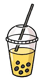 【手描きベクター食べ物イラスト素材】タピオカマンゴージュースのイラスト【縁日・お祭り・屋台の食べ物】
