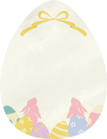 ハッピーイースター 水彩風 ウサギ&リボン フレーム素材