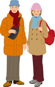 恋人 カップル 冬の観光服