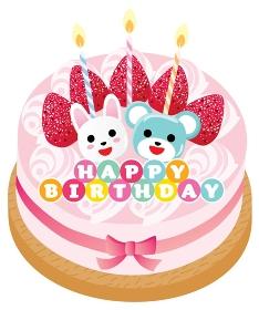 熊とウサギと苺ののったピンクのお誕生日ケーキ
