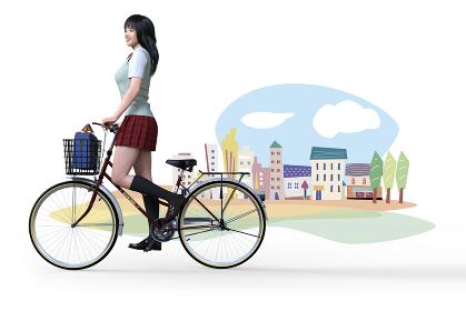 かわいいイラストの街を背景に自転車を立ち漕ぎするロングヘアのミントグリーンのベスト着た朝の通学中