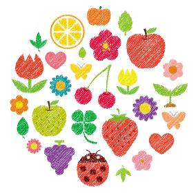 手書き風 (色鉛筆・クレヨンタッチ) イラストセット (サークル)/ 植物・花・果物・フルーツ・虫