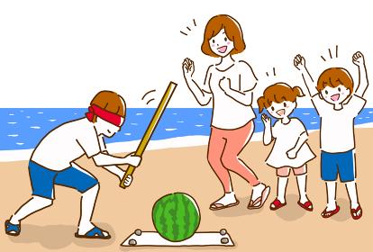 海辺で楽しくスイカ割りをして楽しんでいる家族の線画のイラスト