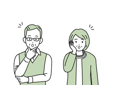 驚く なるほど 理解する 老夫婦 シニア 年配 高齢者 男女 イラスト素材