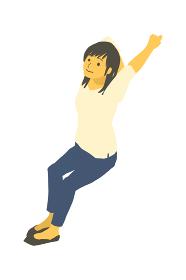 アイソメトリック図法で、腕を伸ばしてリラックスしている女性のベクターイラスト