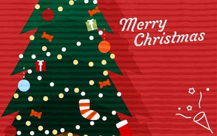 クリスマスツリーのクローズアップと赤い背景