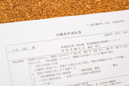 労働条件通知書 就職 転職 雇用 採用 タイトル変更