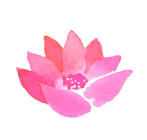 ピンクの花 水彩