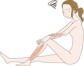 カミソリ負けで肌の傷が気になる 女性 の イラスト