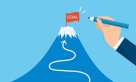ゴールの旗と富士山、目標設定のイメージ、ベクターイラストレーション