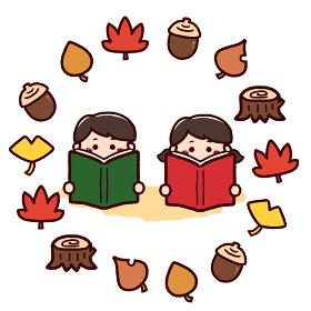 読書の秋 本を読む子供たち