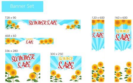 向日葵畑と入道雲とサンバーストの背景つきバナー、サマーセールの文字入り、6種