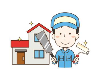 家の修繕作業を行う男性作業員