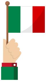 手持ち国旗イラスト ( 愛国心・イベント・お祝い・デモ ) / イタリア