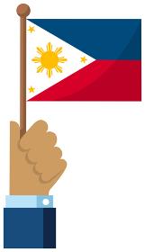手持ち国旗イラスト ( 愛国心・イベント・お祝い・デモ ) / フィリピン