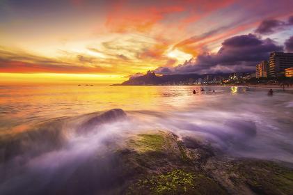 Sunset Landscape Famous Touristic Arpoador Beach, Rio de Janeiro
