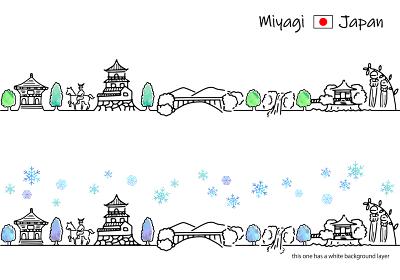 冬の宮城の街並みのシンプル線画セット