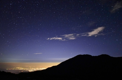 立山連峰 天狗平から望む富山市夜景