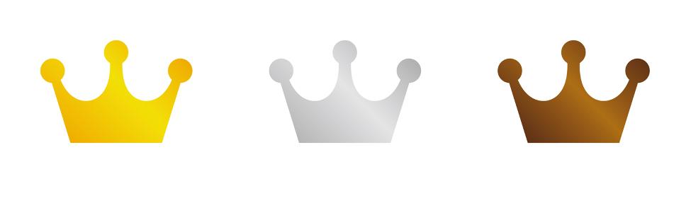 ランキング王冠イラスト 金銀銅 3色セット