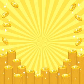 積み重なり輝くゴールドのポイントコインのフレーム 中央からの集中線 複数バリエーションあり