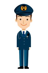 働く人直立している制服を着た警官・警察官・お巡りさんのイラスト若者青年笑顔