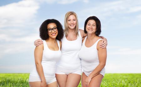 group of happy plus size women in white underwear