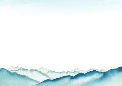 登山 山 山脈 山岳 景色 風景 背景 水彩 イラスト
