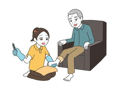 高齢男性のフットケア 女性介護士