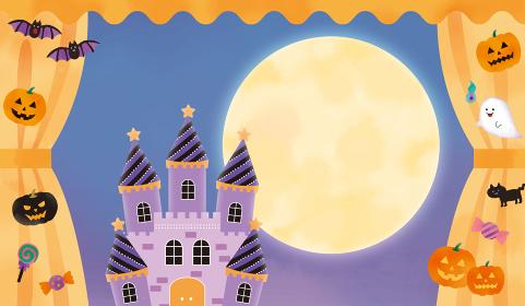 ハロウィンモチーフのカーテンとお城のイラストレーション