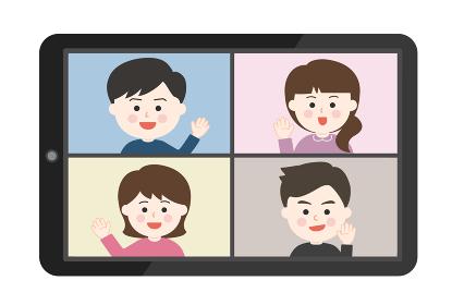 オンライン通話・手を振って挨拶をする友達イラスト