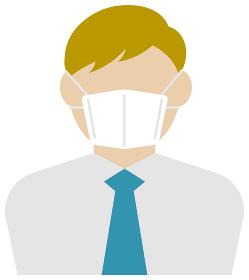 マスクを着けたサラリーマン・ビジネスマン (上半身) / カラーイラストアイコン (白人・外人)