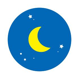 夜イメージの丸型アイコン(背景ベタ塗り、青)