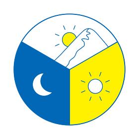朝昼夜 24時間のイメージイラスト 円を三等分(線画、青)