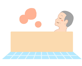 入浴で体が温まる 横向き 高齢男性(線無し)