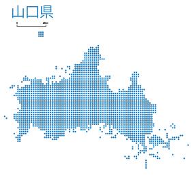 山口県の詳細地図中国地方 都道府県別ドット表現の地図のイラスト ベクターデータ