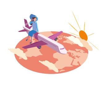 飛行機で旅行する女性と夕焼け空のイラスト