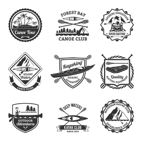 Rafting Canoeing And Kayak Emblems Set . Canoe and kayak sport clubs equipment black emblems and river rafting  labels collection abstract isolated vector illustration