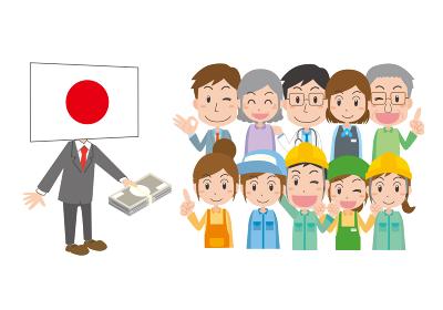 国民にお金を配る日本国旗キャラクター