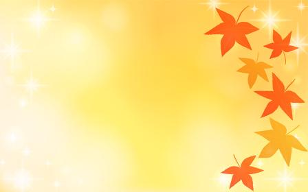 秋の紅葉の背景素材、赤と黄色の紅葉とキラキラ