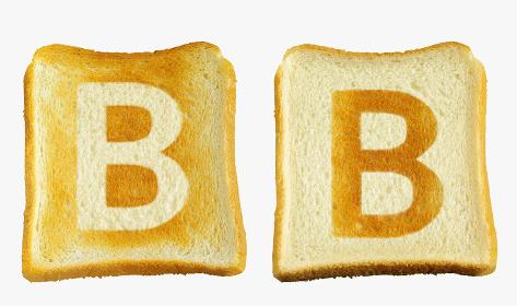 食パンに焼印風のアルファベットの大文字のB