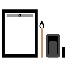 書道道具一式 シンプル・ペン画風イラスト