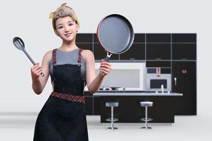前髪がロールした黄色いヘアバンドをしたにこやかな女性がエプロンをつけてフライパンとフライ返しを持ってキッチンで料理をしているシーン