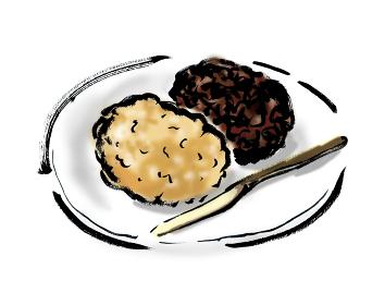 和風手描きイラスト素材 和菓子 おはぎ, お萩, ぼた餅, ボタモチ